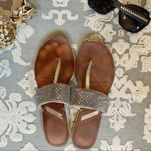 Makito Leather T-strap Embellished Sandals 7.5